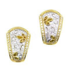 White Yellow Diamond 18 Karat Two-Tone Gold Earrings Retractable Posts