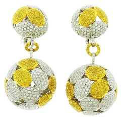 White Yellow Diamond Ball Earrings in 18 Karat White Gold