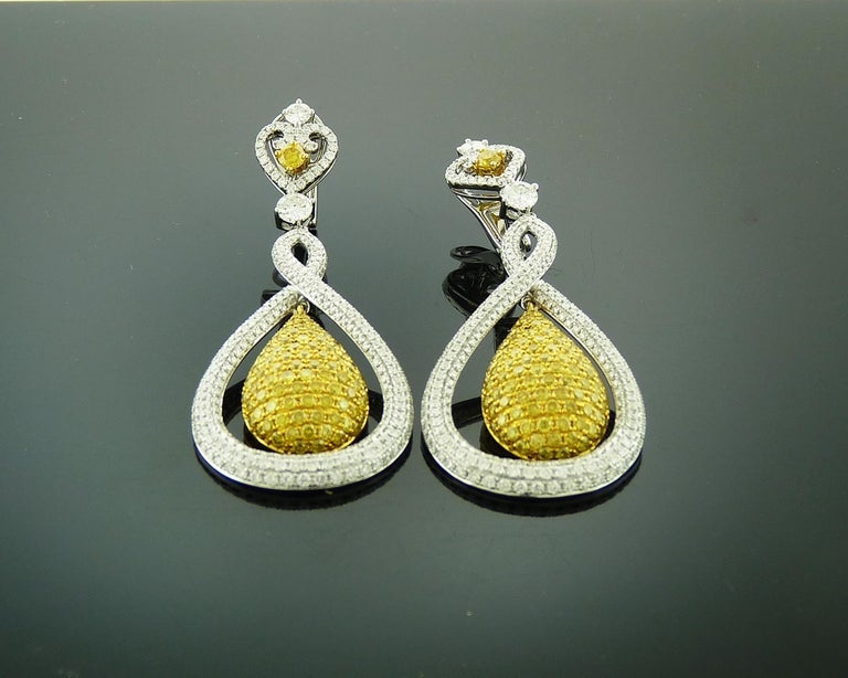 Women's White and Yellow Diamond Tear Drop Gold Earrings For Sale