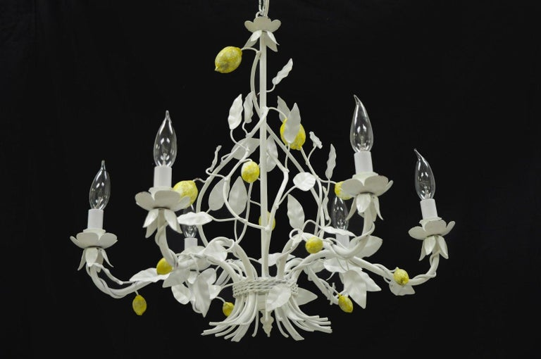 White Yellow Lemon Chandelier Italian Hollywood Regency Chic Tole Metal Toleware For Sale 5