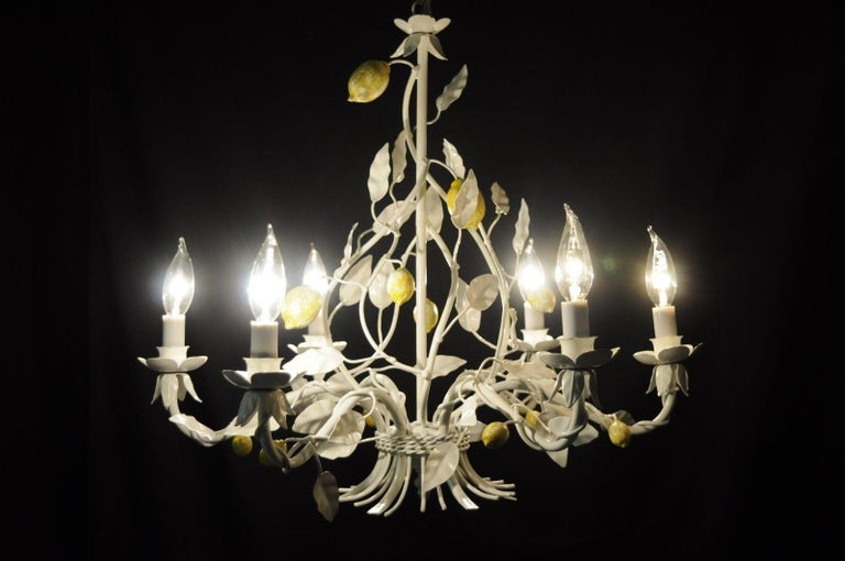 White Yellow Lemon Chandelier Italian Hollywood Regency Chic Tole Metal Toleware For Sale 3