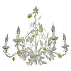 White Yellow Lemon Chandelier Italian Hollywood Regency Chic Tole Metal Toleware