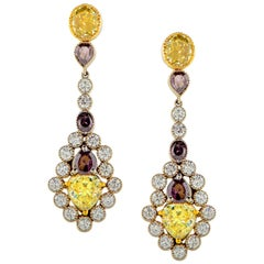 White Yellow Purple Diamond Drop Platinum Earrings GIA Certified