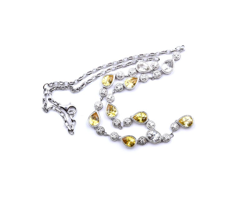 Pear Cut White and Yellow Sapphire with Diamond 18 Karat White Gold Necklace For Sale