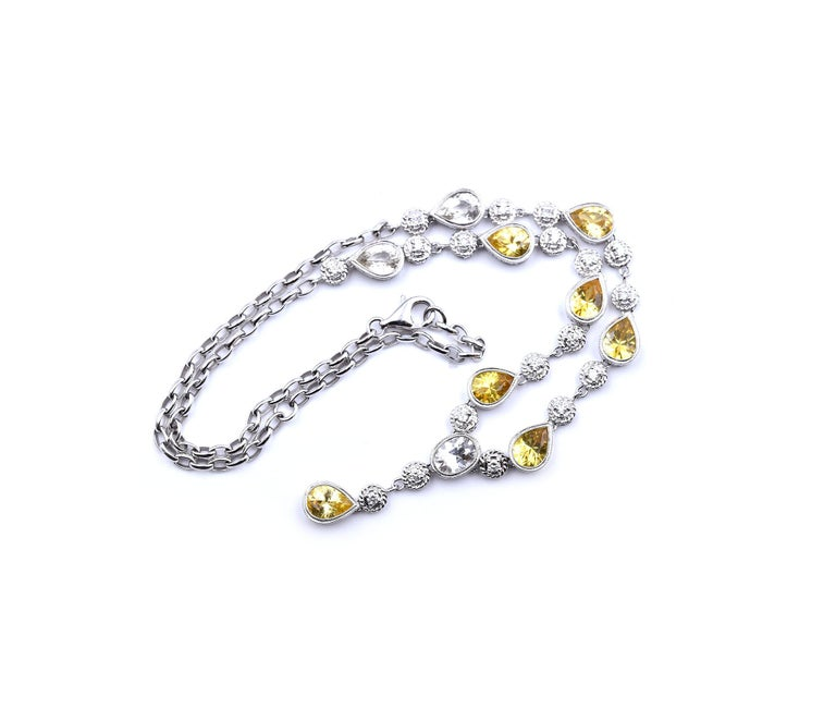 White and Yellow Sapphire with Diamond 18 Karat White Gold Necklace In Excellent Condition For Sale In Scottsdale, AZ