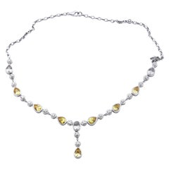 White and Yellow Sapphire with Diamond 18 Karat White Gold Necklace
