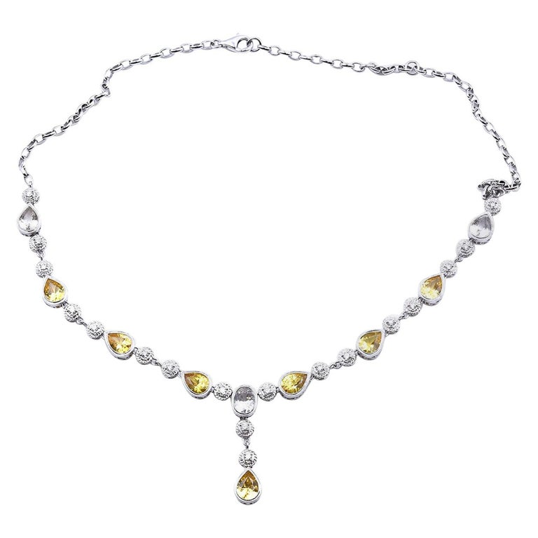 White and Yellow Sapphire with Diamond 18 Karat White Gold Necklace For Sale