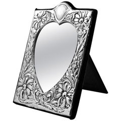 Whitehill Silver Co English Sterling Silver Heart Shape Mirror Blue Velvet 1980s