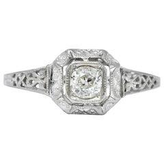 Whiterose Edwardian 0.23 Carat Diamond 18 Karat White Gold Engagement Ring