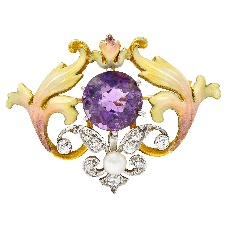 Whiteside & Blank Amethyst Pearl Diamond Enamel Platinum Gold Pendant Brooch