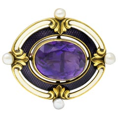 Whiteside & Blank Art Nouveau Amethyst Pearl 14 Karat Gold Pendant Watch Brooch