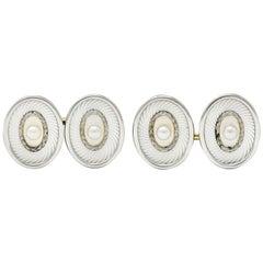 Whiteside and Blank Pearl Enamel Platinum-Topped 18 Karat Gold Laurel Cufflinks