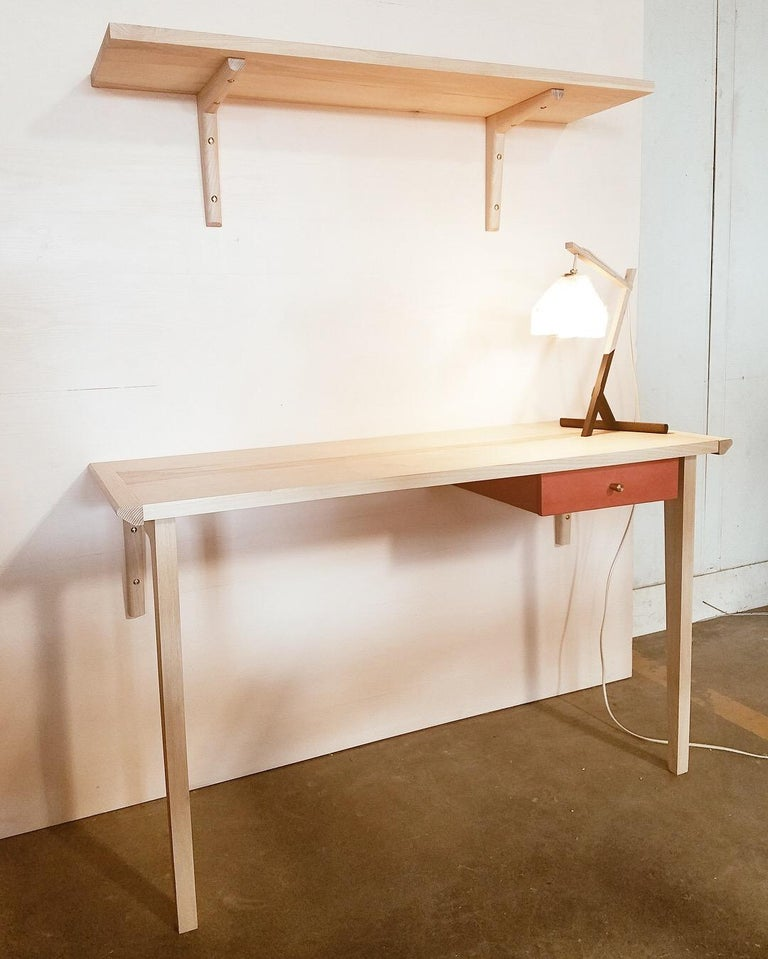 Vegetable Dyed Whitewashed Ash Linderman Wall-Mounted Desk with Leather Wrapped Drawer in Stock For Sale