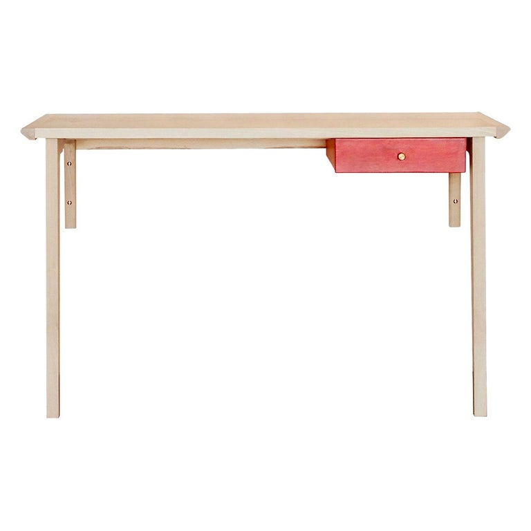 Whitewashed Ash Linderman Wall-Mounted Desk with Leather Wrapped Drawer in Stock For Sale