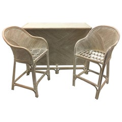 Whitewashed Palm Beach Bamboo Three-Piece Bar Table, Two Stools Set