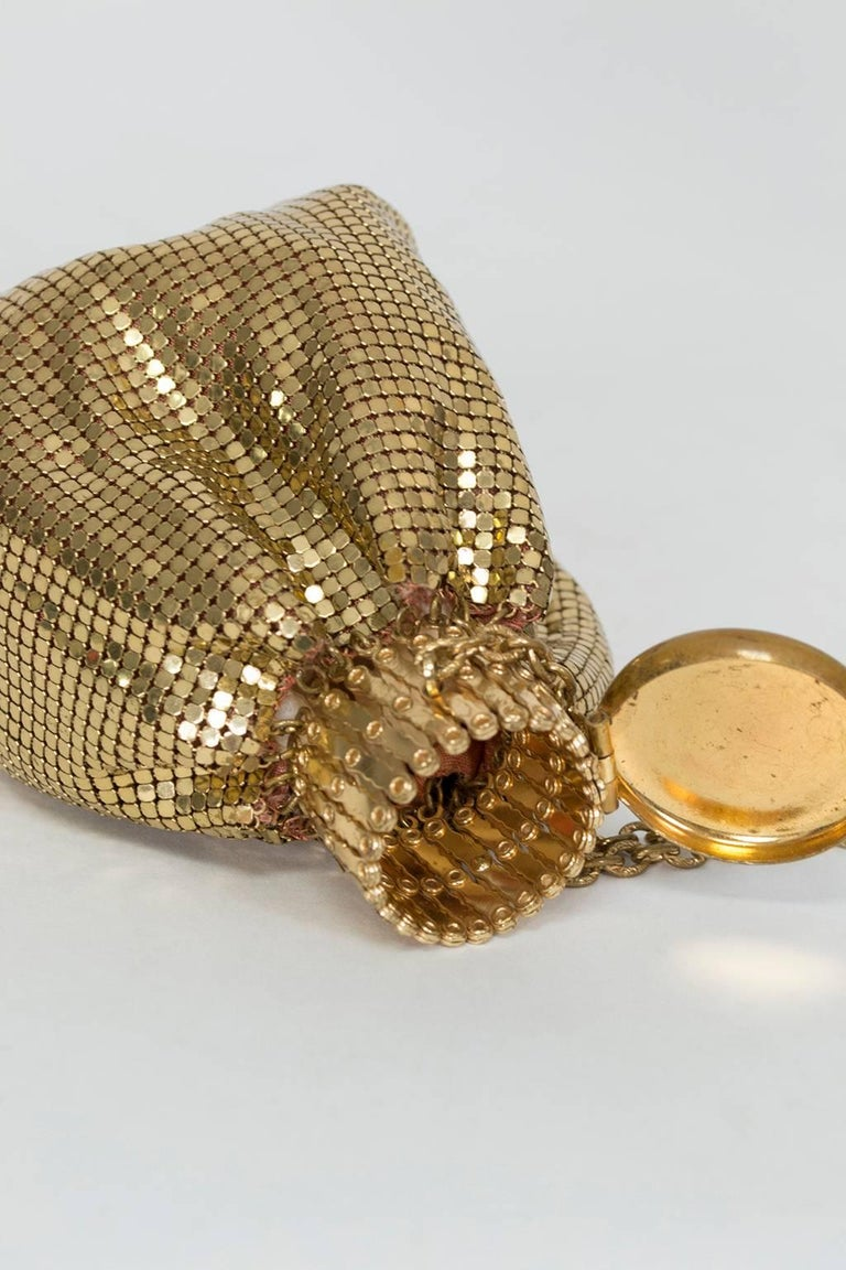 An ingenious design that kept handbags dainty despite having decent capacity, beggar's bags had round accordion-hinged mouths that expanded for filling. Beyond cool engineering this purse's added benefit is its engravable top, which has been left