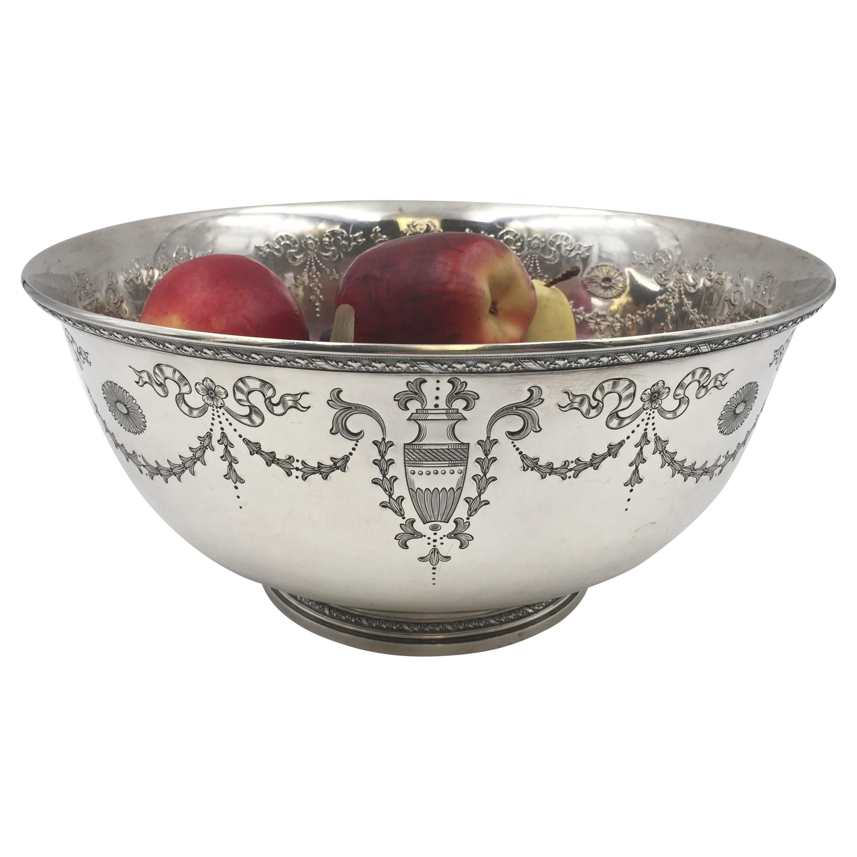 Whiting 1917 Sterling Silver Centerpiece Bowl with Engraved Motifs