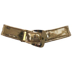 Whiting and Davis 1980s Gold Metal Chainmail Vintage Metallic 80s Belt
