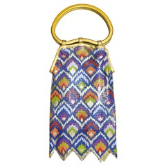 Whiting and Davis Enameled Chevron Design Multi Color Top Handle Zig Zag Bag