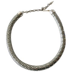 Whiting and Davis Metal Mesh Choker Disco Necklace
