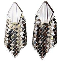 Whiting and Davis Vintage Disco Metal Mesh Earrings, 1970s