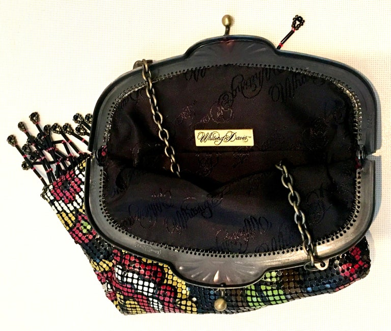 Whiting & Davis 20th Century Metal Mesh Enamel Floral Flapper Evening Bag For Sale 5