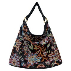 Whiting & Davis Black Floral Print Metal Mesh Shoulder Bag W/ Black Leather Trim
