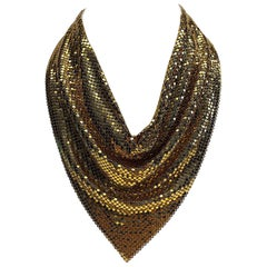 Whiting & Davis Co. 1970s Mesh Handkerchief Disco Necklace