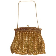 Whiting & Davis Gold Mesh Bag with Cut-Out Frame