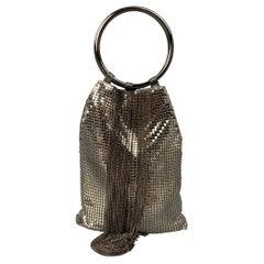 WHITING & DAVIS Silver Mesh Metal Chains Evening Handbag