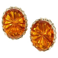 WHITING & DAVIS Vintage Clip-on Earrings in Gilt Metal and Glass