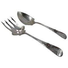 Whiting Japonesque Mixed Metal Salad Servers with Crabs & Cattails