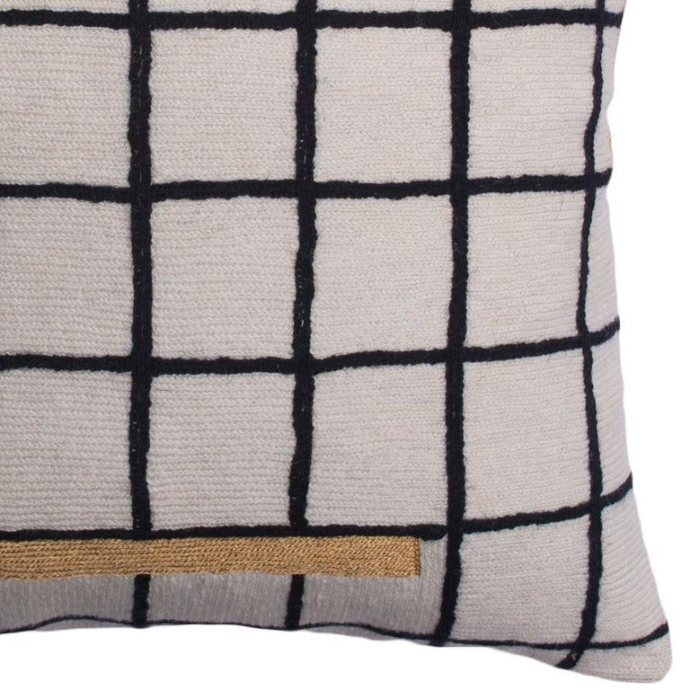 Indian Whitney Grid Modern Hand Embroidered Geometric Throw Pillow Cover For Sale