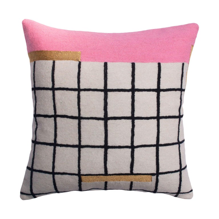 Whitney Grid Modern Hand Embroidered Geometric Throw Pillow Cover For Sale