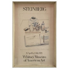 Whitney Museum of Art Framed Lithograph 1978 Saul Steinberg Exhibit