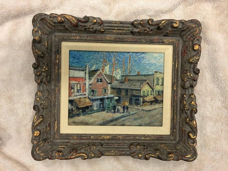Whitney Myron Hubbard Main Street Greenport L.I. New York - American Impressionist Painting by Whitney Myron Hubbard