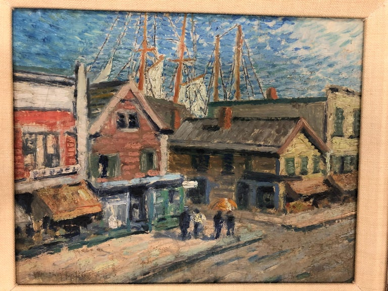 Whitney Myron Hubbard Main Street Greenport L.I. New York - Painting by Whitney Myron Hubbard