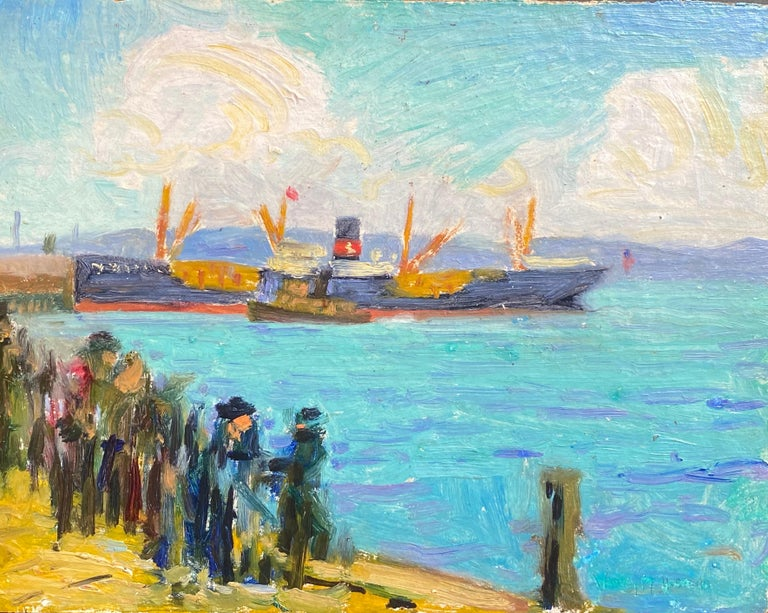 """""""Oil Tankers"""" - American Modern Painting by Whitney Myron Hubbard"""