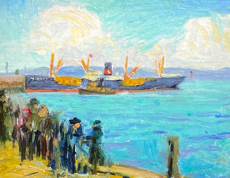 """Whitney Myron Hubbard Landscape Painting - """"Oil Tankers"""""""