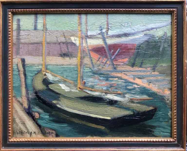 """Sailboat In Greenport Harbor"" - Post-Impressionist Painting by Whitney Myron Hubbard"