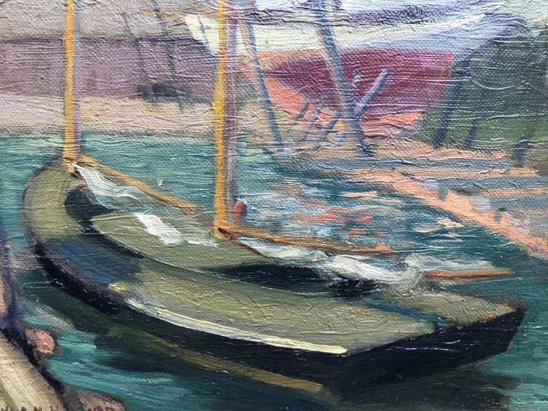 Oil paint on artist board painting of a sailboat docked in Greenport  Harbor, Long Island.  Signed lower left. Condition is very good.  Circa 1940. The painting is framed in a contemporary gold leaf with green painted insert. Measurements framed