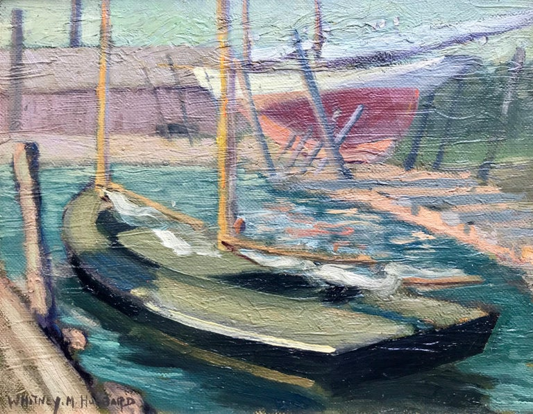 "Whitney Myron Hubbard Landscape Painting - ""Sailboat In Greenport Harbor"""
