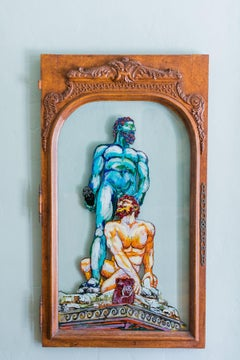 Hercules and Cacus- Greek  Mythological Painting on Vintage Antique Glass Door