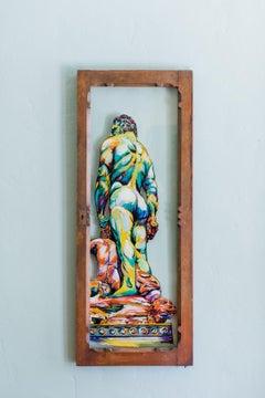 Hercules en Retro- Surrealistic Greek Mythology Painting on Vintage Window
