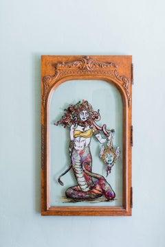 Medusa Avenged - Greek  Mythological Painting on Vintage Antique Glass Door