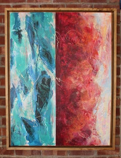 When the Ocean Dreams of the Desert Sky - Contemporary Abstract (Red + Blue)