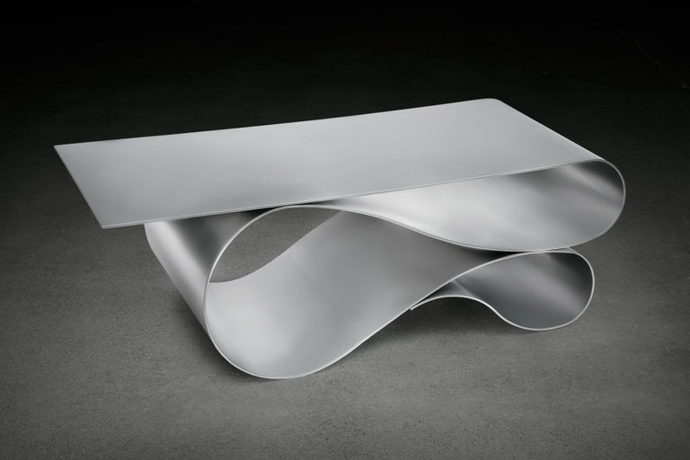 Painted Whorl Coffee Table, in Powder Coated Aluminum by Neal Aronowitz For Sale