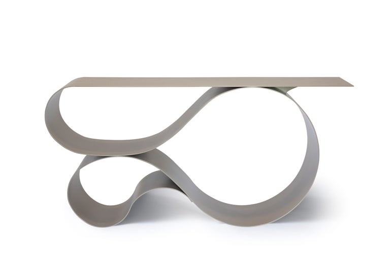 Modern Whorl Console, in Beige Powder Coated Aluminum by Neal Aronowitz For Sale