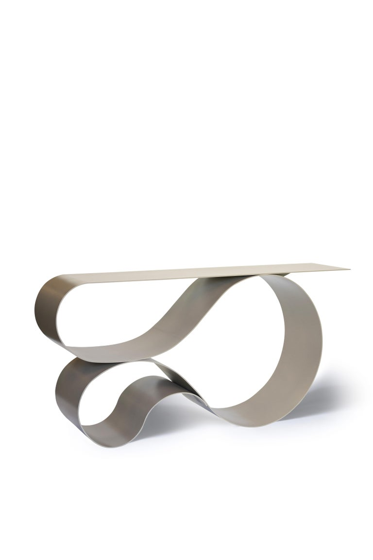 American Whorl Console, in Beige Powder Coated Aluminum by Neal Aronowitz For Sale