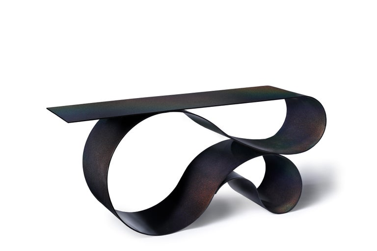 Hand-Crafted Whorl Console, in Powder Coated Aluminum by Neal Aronowitz For Sale